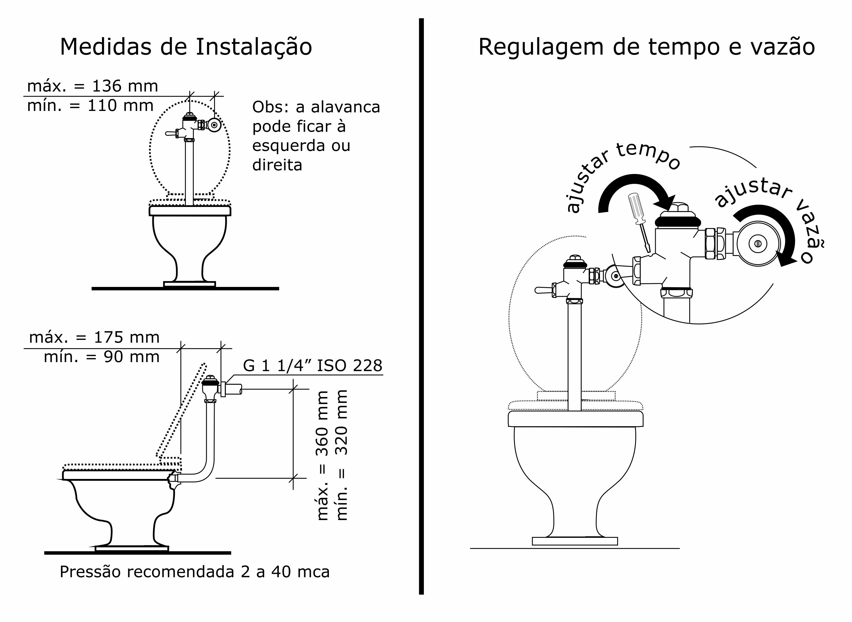 Válvula de Descarga Silent Flux Fabrimar #1B1B1B 3025x2209 Autocad Banheiro Deficiente
